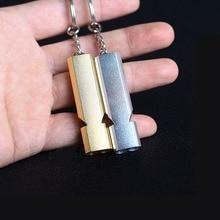 Двойной трубы высокой децибел алюминиевого сплава открытый свисток для выживания в чрезвычайных ситуациях брелок Черлидинг свисток многофункциональный инструмент