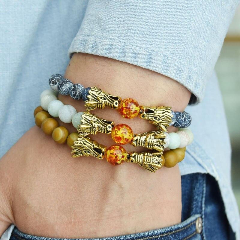 HYHONEY 8MM Natural Stone Beads Bracelet For Men bileklik Men Jewelry Dragon pulseras 8