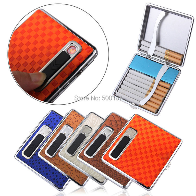 FIREDOG W Built in USB Flameless Electronic Rechargeable Lighter Cigarette Case Holder Windproof Flameless Lighter