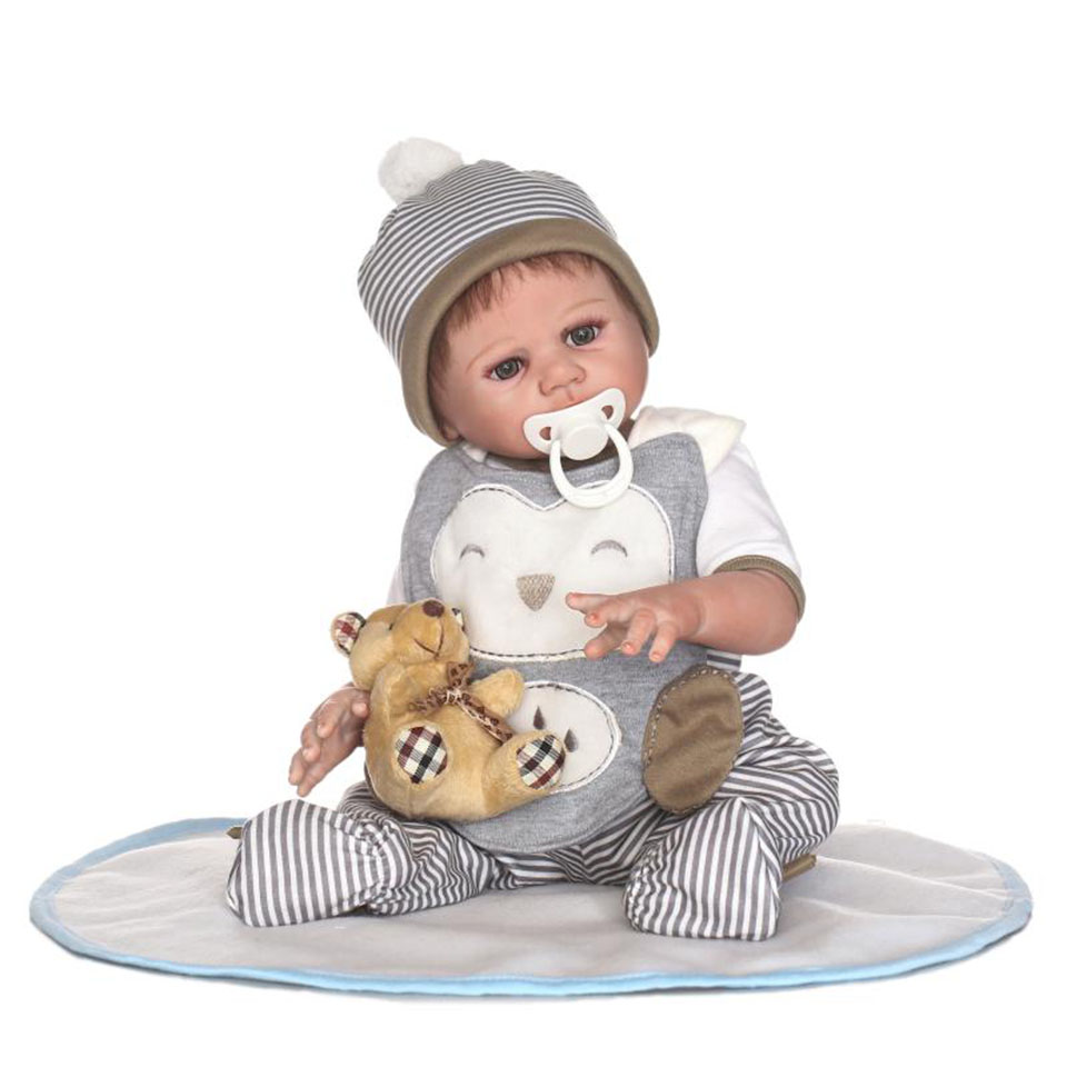 NPK Full Vinyl Reborn Dolls Lifelike Babies Boy 17 inch So lovely Baby Dolls wear Stripe Pants Alive bebe Boneca For Toddler Toy free shipping hot sale real silicon baby dolls 55cm 22inch npk brand lifelike lovely reborn dolls babies toys for children gift
