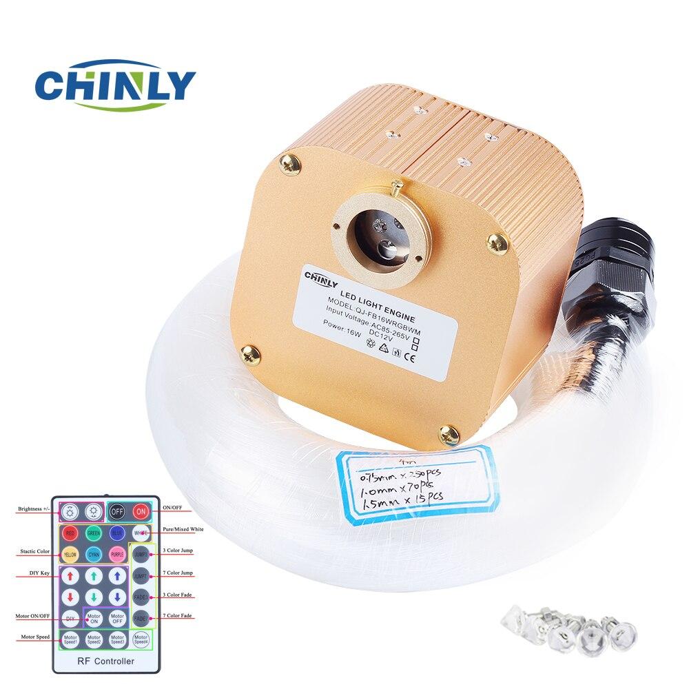 16 W RGBW Twinkle 28key RF À Distance LED Fiber Optique Lumière Plafond Étoilé Kit Optique Éclairage 4 m (0.75 + 1.0 + 1.5mm) fiber Optique + Cristal