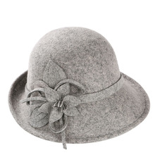 England Style Ladies Wool Fedoras Hats Black White Flower Wool felt Hat Fashion Women Church maison michel Cloche Hat Cap