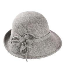อังกฤษสไตล์สุภาพสตรีขนสัตว์Fedorasหมวกสีดำสีขาวดอกไม้ขนสัตว์รู้สึกหมวกแฟชั่นสตรีคริสตจักรm aison michelหมวกครอบหมวก