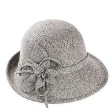 Styl angielski panie wełniane kapelusze Fedoras czarny biały kwiat kapelusz z filcu wełnianego moda kobiety kościół maison michel czapka czapka