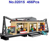 Lepin 02015 456pcs City Series Train Station Building Block Compatible 60050 Brick Toy