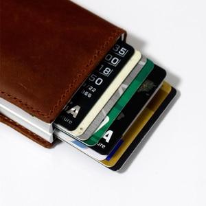 Image 4 - Vmファッションキスrfid狂気の馬革ミニ財布セキュリティ情報ダブルボックスアルミクレジットカードホルダー金属財布