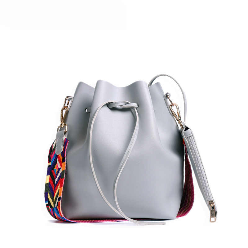 New Hot Women Bag with Colorful Strap Bucket Bag Women PU Leather Shoulder  Bags Brand Designer 1ddb72f19f939