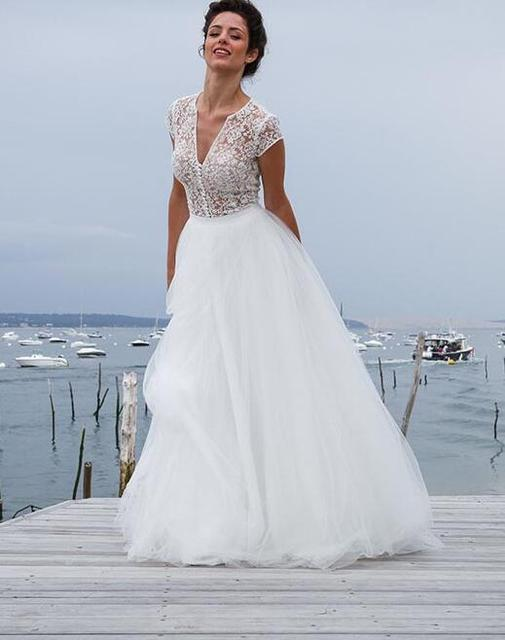 2017 New Designer Long A-line Three Pieces Sexy Lace Top Tulle Skirt Boho Wedding Dresses Illusion Bridal Gown Informal