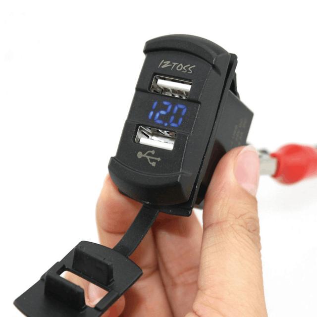 Autos Motos Voltímetro Azul LED Con 4.2A Dual USB Adaptador de Corriente Cargador de Coche Impermeable Motocicleta Cargadores USB Para El teléfono