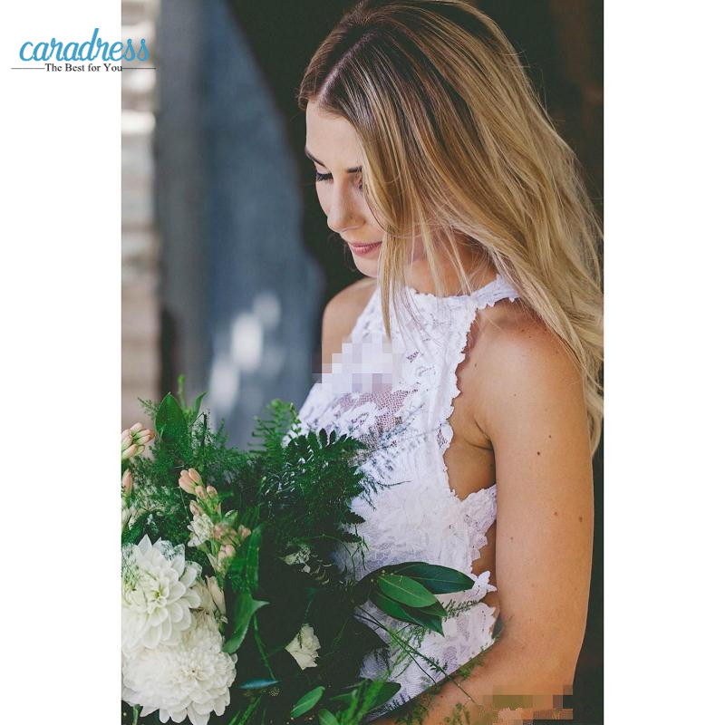 Bohemia Country Lace Wedding Dresses 2017 Hollow Back Font Split Crew Neck  Cheap Mermaid Garden Beach Bridal Bridal Gowns Sweep -in Wedding Dresses  from ... 9d3a00d2aa3e