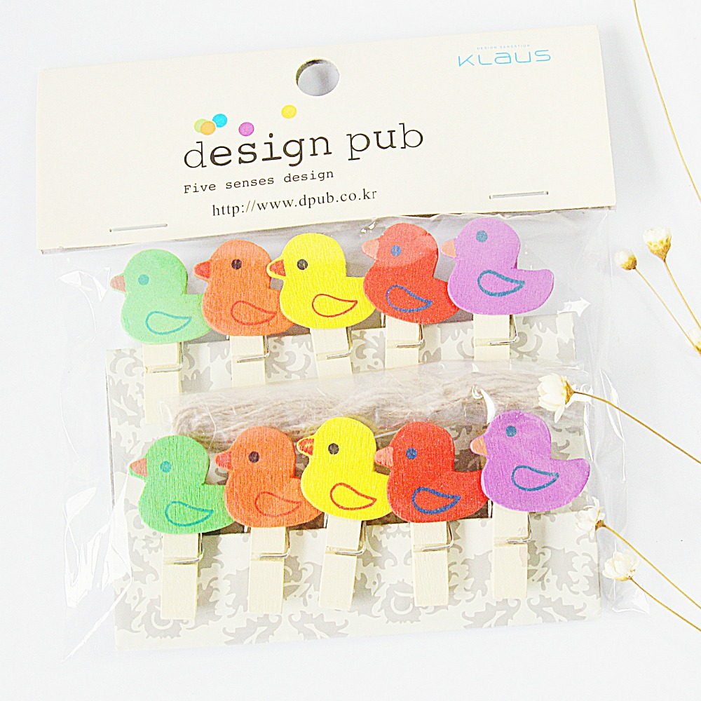 10 Pcs/Lot Cute Cartoon Chicken Wooden Clip Photo Paper Clothespin Craft Clips Party Decoration Clip With Hemp Rope