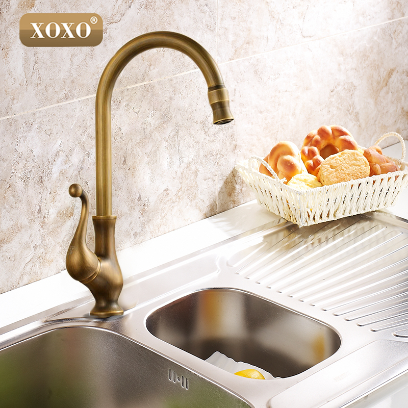 XOXOKitchen taps/cozinha/faucet Antique Brass Swivel Spout Kitchen Faucet Single Handle Vessel Sink Mixer Tap 50041B gooseneck swivel spout kitchen sink faucet antique brass single hole deck mounted single handle vessel sink mixer taps wsf080
