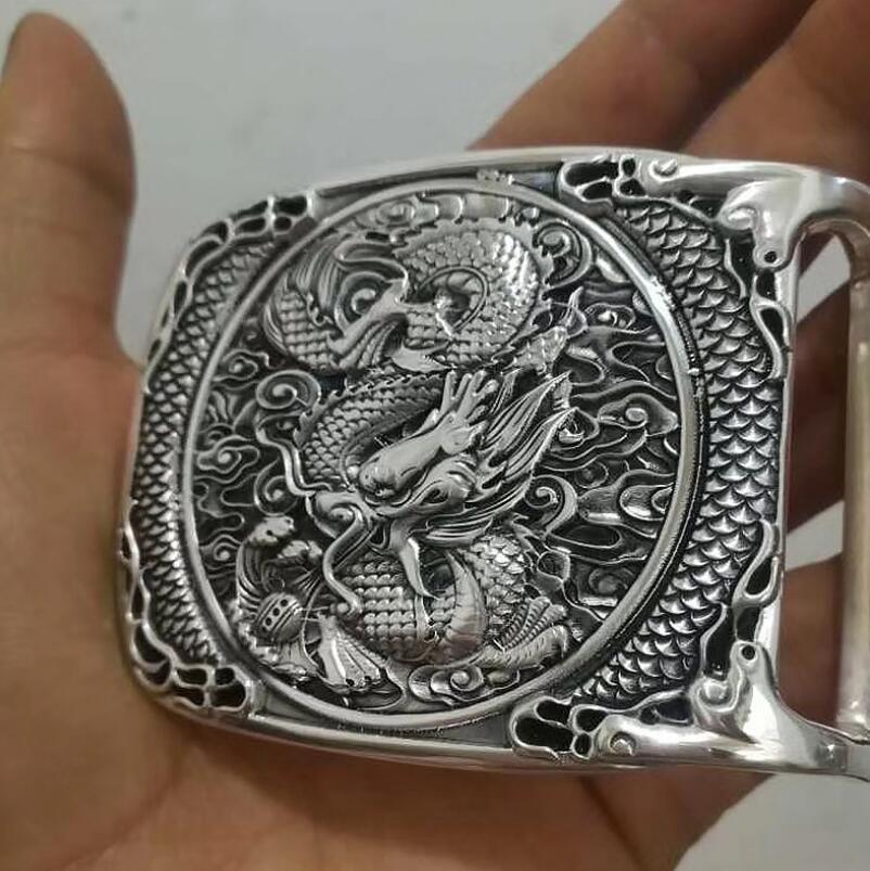 999 Silver Belt Buckle Dragon Jewrlry