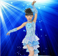 Free Shipping Children sequins Latin dance performances clothing girls dresses competition dress dance dance new