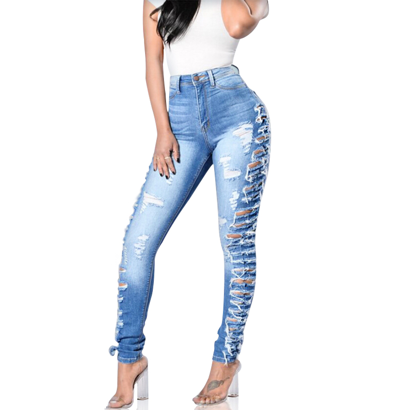 New Women's Skinny Elastic Scratched Distressed Denim Jeans Hole Ripped Slim Mid Waist Full-Length Pencil Pants womem s skinny elastic buttons washed ripped jeans embroidered mid waist full length denim jeans pencil pants