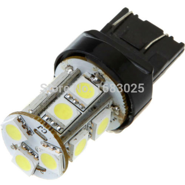 100Pcs Big Promotion T20 W21 5W 7443 13 SMD 5050 LED Pure White Car Auto Light