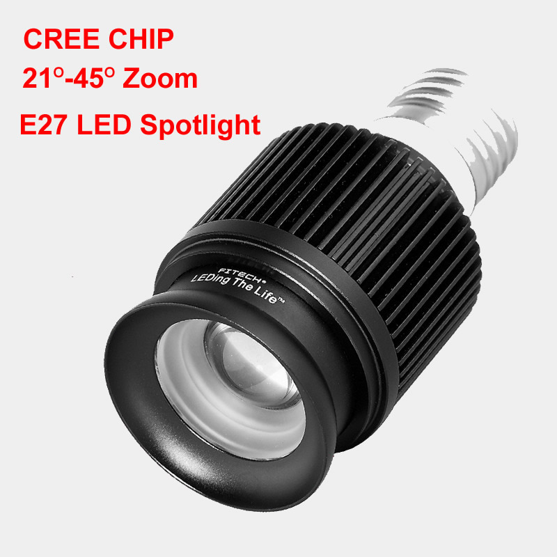 2017 New Zoom Led SpotLight Cree Cob E27 Spot Led Spot Light 5W 3000K 4000K 6000K Bulb Lamp Museum Cabinets Lighting 110V 220V