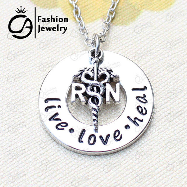 live love heal nurse rn necklace christmas gift jewelry ln1299 in