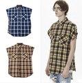 Inflación KMO streetwear ropa de marca de algodón brazo mangas ropa de tartan niebla franela cremallera lateral vestido de camisa a cuadros ropa de los hombres