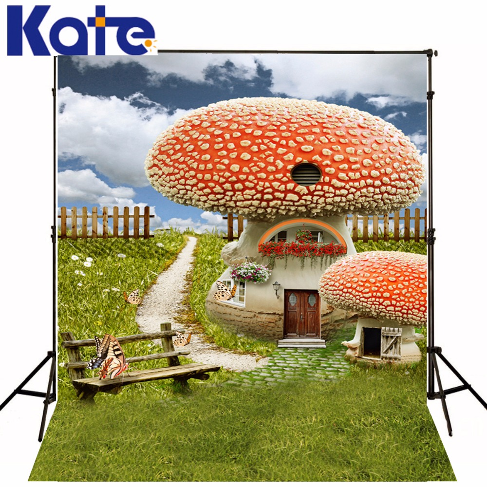 Kate Digital Printing Photography Backdrops Huge Mushroom House White Cloud Butterfly For Children Photographic Background сумка kate spade new york wkru2816 kate spade hanna
