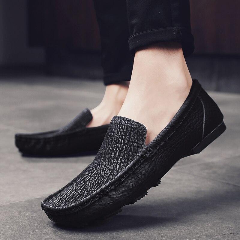 Handmade Fashion Men Shoes Sewing Casual Split Leather Flat Men's Loafer Shoes Custom Bespoke Slip-On Brand Footwear Male Shoes