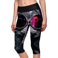 3D Gözlük Yüksek Bel Kadınlar Orta Buzağı Tayt Seksi Kız Spor Yoga Kırpılmış Pantolon Yeni Sıcak Elastik S-4XL Nefes kapriler