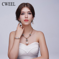 Trendy Women Big Simulated Pearl Jewelry Sets Gold Plated Wedding Party Dress Accessories Bridal Statement Choker