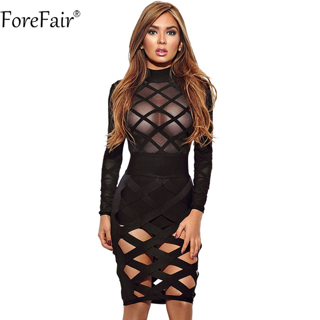 ForeFair 2018 New Cut Out Perspective Mesh Club Party Dresses Plus ...