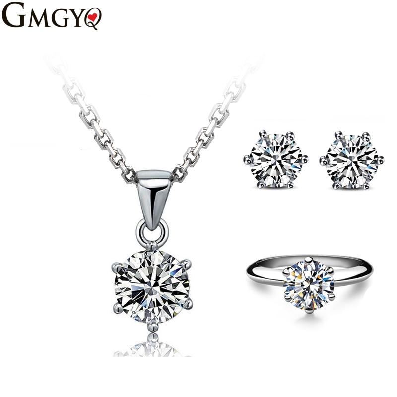 GMGYQ Brand Classic Six Paws 1 Carat CZ Diamant Zirkoon Accessoires Sets voor Vrouwen Bruid Meisje For Women Simple Jewelry sets