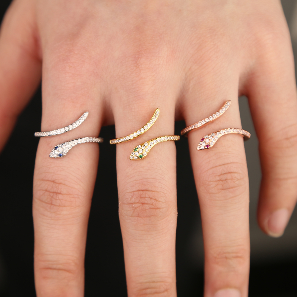 2019 new wholesale cz fashion jewelry high quality gold rose silver 3 colors open snake finger trendy ring for women2019 new wholesale cz fashion jewelry high quality gold rose silver 3 colors open snake finger trendy ring for women