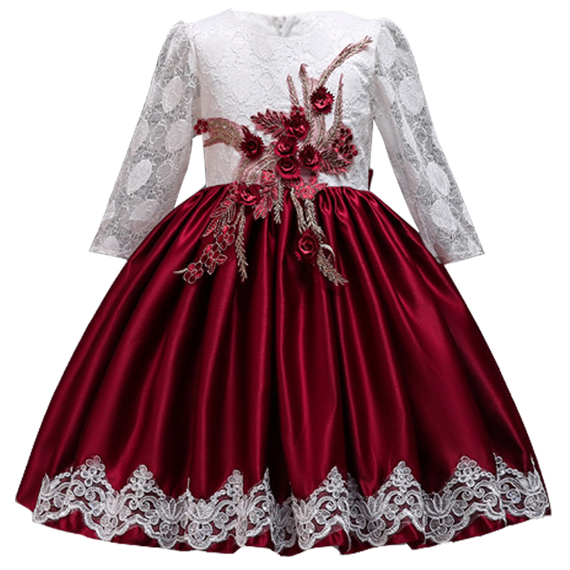 2018 Winter Long Sleeve   Flower     Girl     Dress   Wedding   Dress   Party Kids   Dresses   For   Girls   Children Costume Princess Christmas   Dress