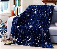 Unihome Soft Rectangle White Stars And Dark Blue Aky Print Flannel Blanket Or As Sofa Cover
