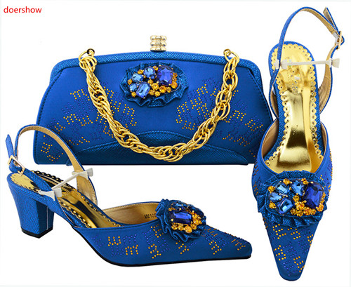 doershow blue Shoes and Bag Set African Sets Italian Shoes with Matching Bags High Quality Women Shoes and Bag To Match!SVP1-19