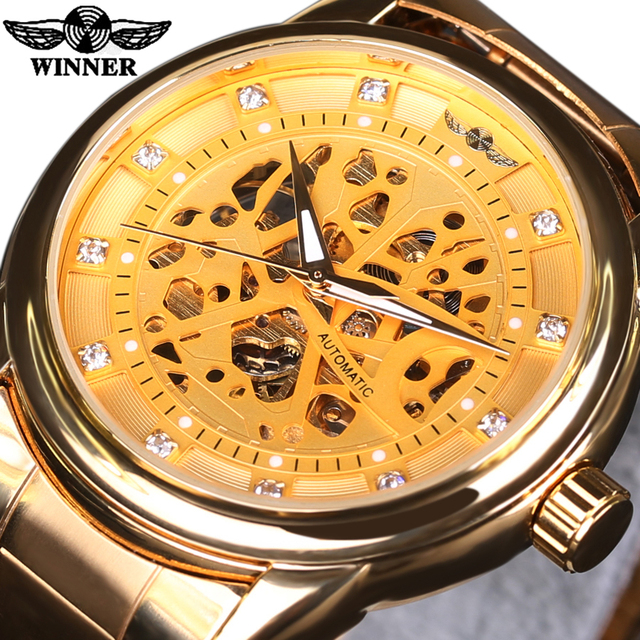 New WINNER Relojes Watches Top Branded Mens Classic Stainless Steel Self Wind Skeleton Mechanical Watch Fashion Gold Wristwatch