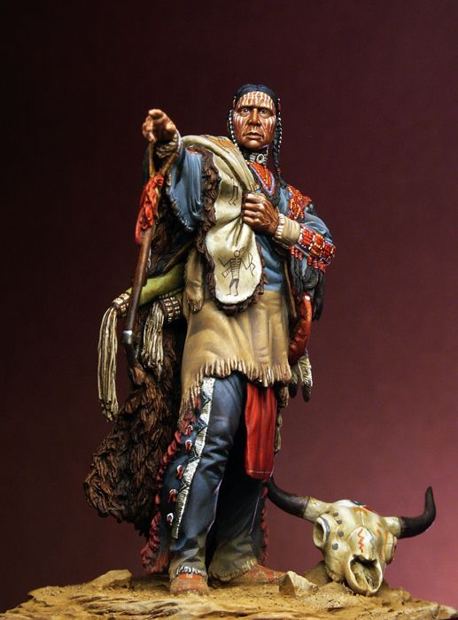 Assembly Unpainted <font><b>Scale</b></font> <font><b>1/24</b></font> 75mm Sioux Warrior Office 75mm <font><b>figure</b></font> Historical Resin Model image
