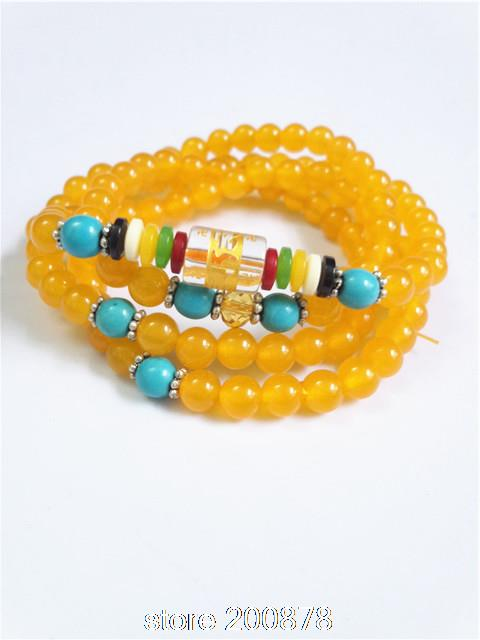 BB-037 Bouddhiste 108 prière perles mala Naturel Cornaline Chapelet Collier 6mm naturel pierre filles bracelet
