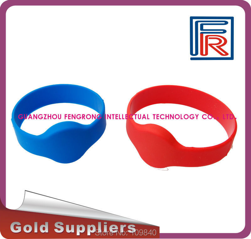 5pcs 55mm Red 125KHz RFID silicone Wristbands with TK4100(compitable EM4100),proximity waterproof RFID bracelet samples