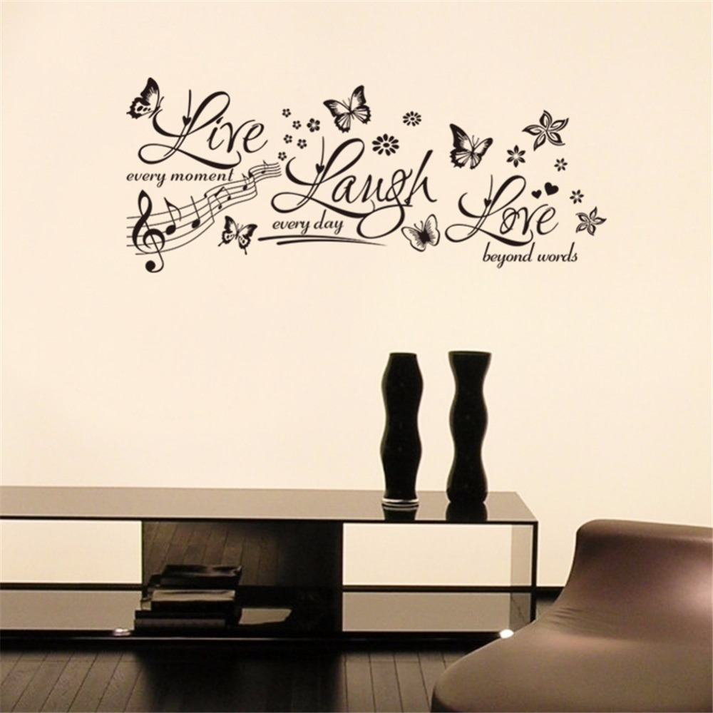 diy live laugh love quotes english words wall sticker living room diy live laugh love quotes english words wall sticker living room bedroom decoration butterfly wall decal home decor removable in wall stickers from home