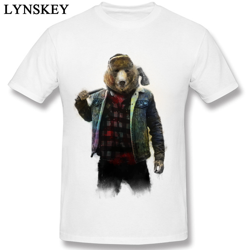 High Quality Funny Hipster T-Shirt For Men Summer Cheaper 100% Cotton Fabric Short Sleeved Clothes Blizzard Bear Casual Shirts