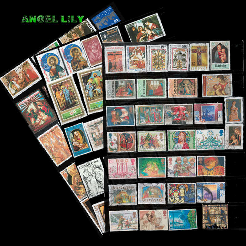 45 PCS / Lot Topic  Christmas  And  Easter  Used and Unused Postage Stamps  With Post Mark For Collection