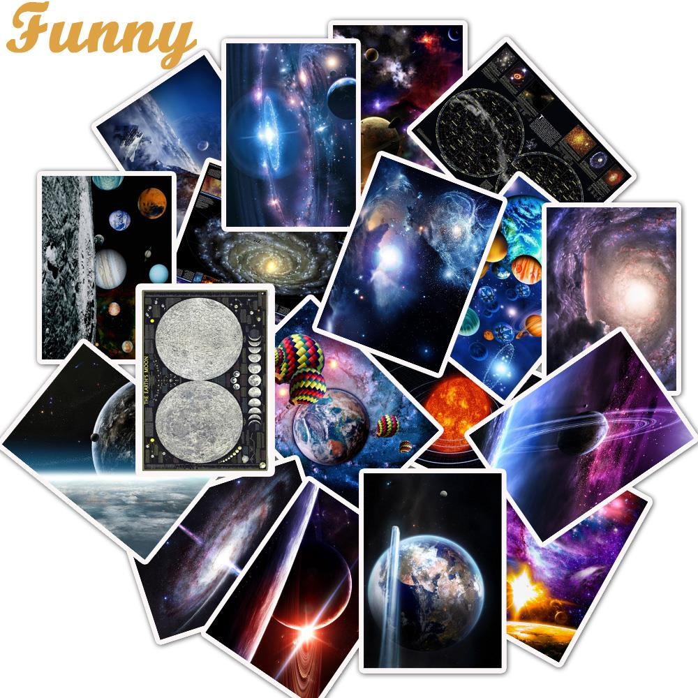 25Pcs/Lot Earth Galaxy Solar System Stickers Space For Laptop Motorcycle Skateboard Luggage Decal Toy DIY Sticker