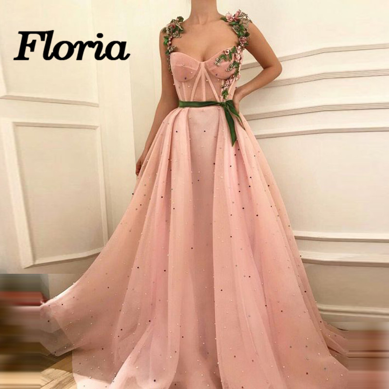 Arabic Muslim Pink Evening Dresses Sparkle 3D Flower Long Formal ...