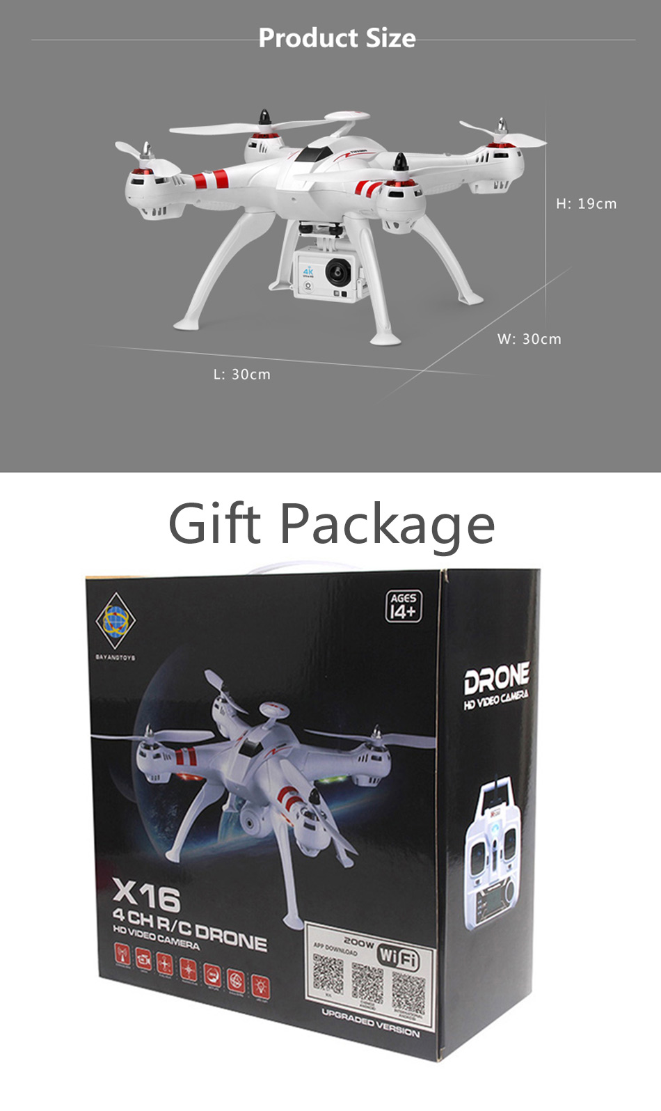 X16 rc drones with camera hd dron GPS height 500 meters fly distance Fpv quadcopter rc helicopter Brushless Motor 4K 1600W Toys 16