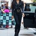 InstaHot женские брюки с высокой талией брюки карандаш с пряжкой брюки для женщин зима осень тонкие однотонные уличнае элегантные брюки офисны...