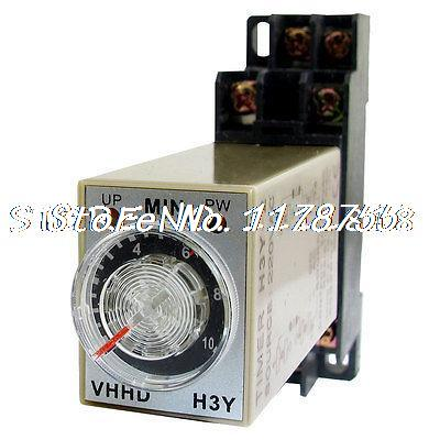 AC 220V 10Min 0-10 Minute Delay Timer Time Relay H3Y-2 + 8 Pin DIN Rail Socket