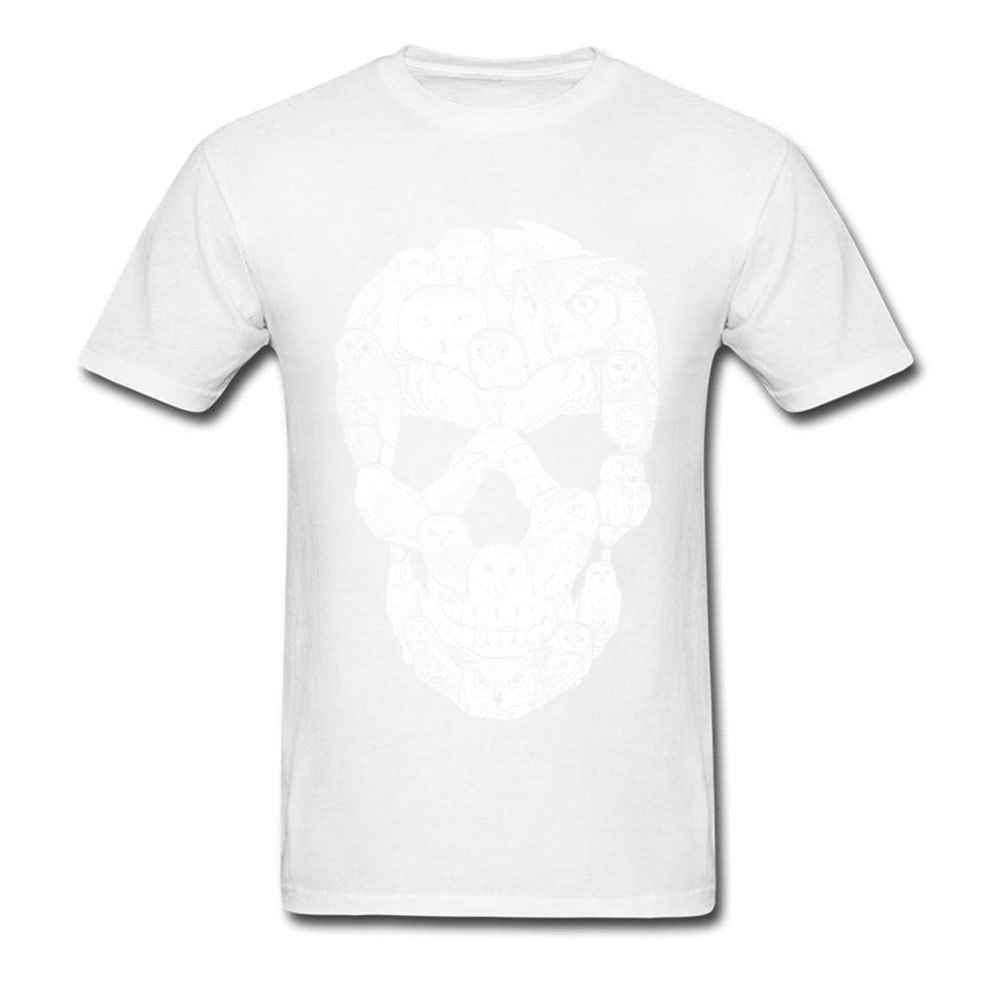 Sketchy Owl Skull Mother Day 100% Cotton Fabric Crew Neck T Shirt Short Sleeve Group Tops T Shirt Company Slim Fit T-Shirt Sketchy Owl Skull white