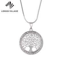 80b5641ef024 Caliente Árbol de la vida de la redonda de cristal colgante pequeño collar  de oro de