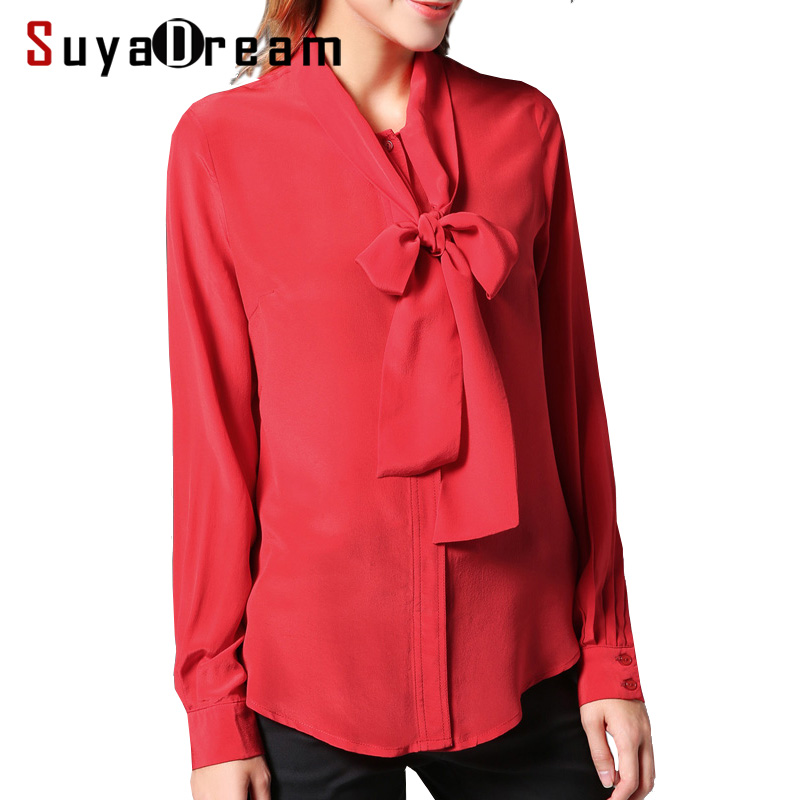100% természetes selyem blúz Női Solid íjgallér blúzok Selyem - Női ruházat
