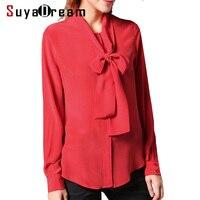 100%Natural Silk blouse Women Solid Bow collar Blouses Silk Chiffon Blusas femininas 2018 NEW 88 Red