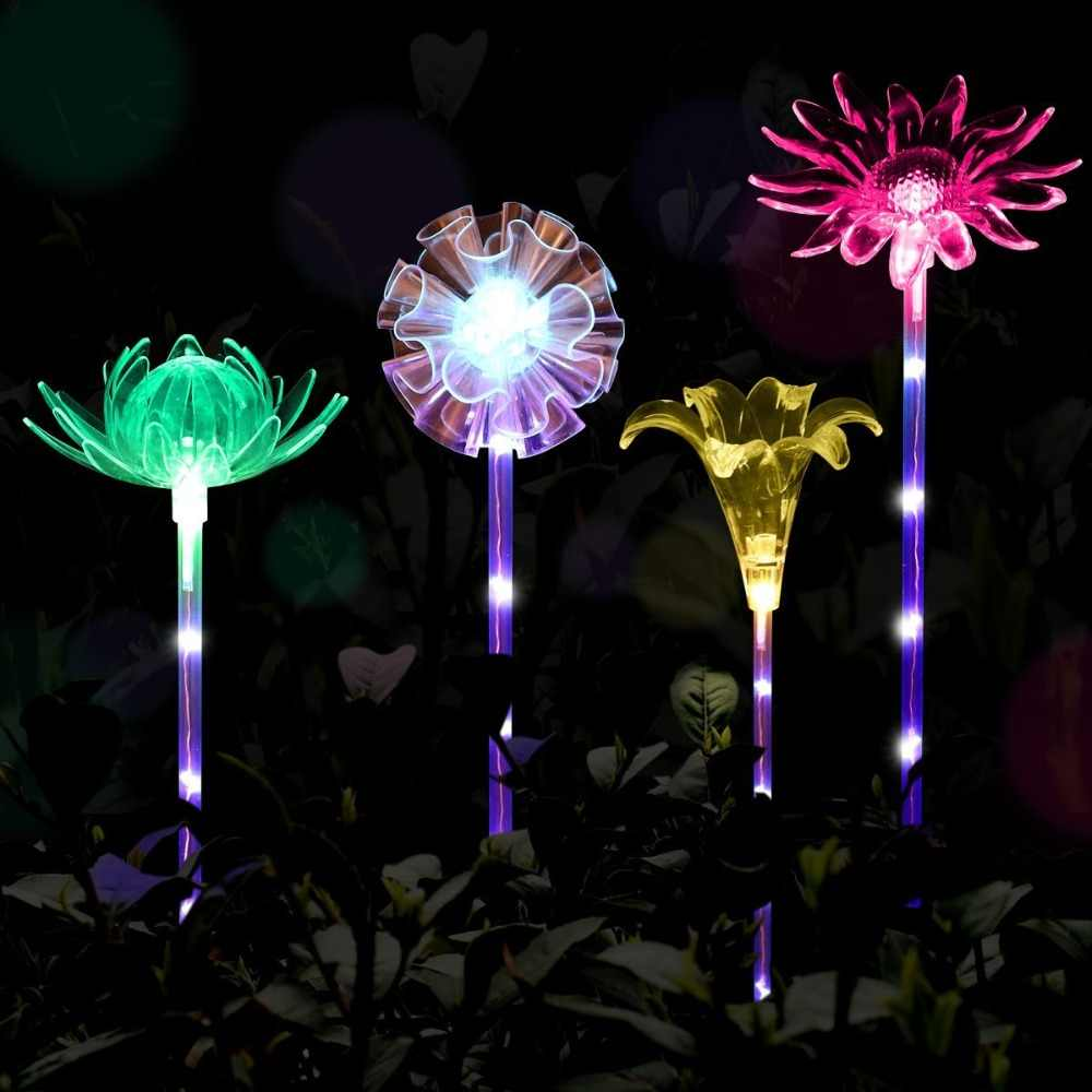 Muiltcolor Outdoor Solar Tuinverlichting Lotus Paardebloem Lelie Zonnebloem Stake Lights Voor Yard Garden Path Way Landschap Decoratie